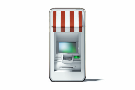 Realistic ATM machine in mobile phone on white background. 3d rendering. Zdjęcie Seryjne