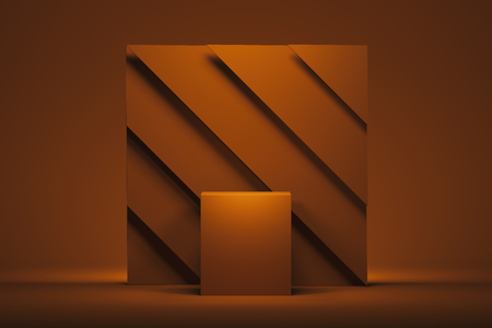 Showcase with empty space pedestal on orange square background. 3d rendering.
