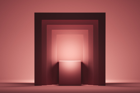 Showcase with empty space on pedestal on pink square background. 3d rendering.