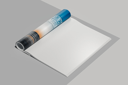 Open magazine with blank pages. Empty space. 3d rendering. Stok Fotoğraf