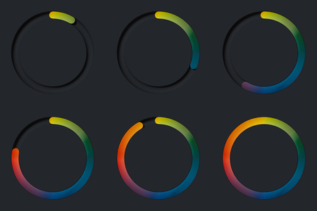 Realistic multicolored round toggle buttons on black background. 3d rendering. 版權商用圖片