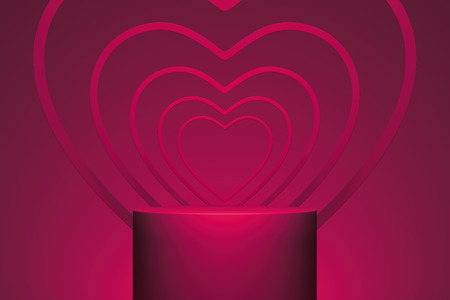 Modern showcase with hearts on pink background. 3d rendering.