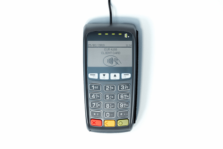 POS payment terminal. NFC payments concept. 3d rendering.