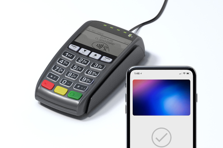 POS payment terminal and mobile phone. NFC payments concept. 3d rendering.