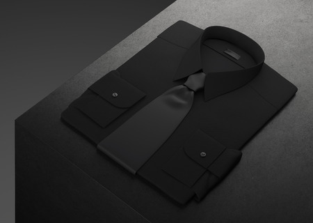 Classic and formal shirt and bow tie stacked on black background. 3d rendering.