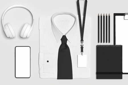 Classic formal shirt and bow tie with blank lanyard, badge. 3d rendering.