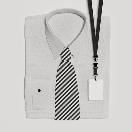 Classic formal shirt and bow tie with blank lanyard and badge. 3d rendering.