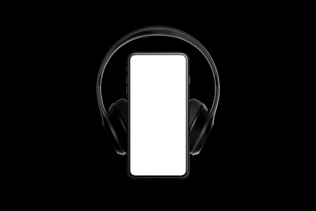 Headphones on mobile phone isolated on dark background. 3d rendering.