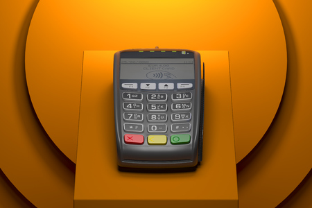 POS payment terminal. NFC payments concept. 3d rendering. Stock Photo - 117814302