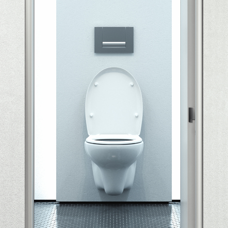 Toilet room interior design with built-in toilet in Modern flat. 3d rendering. Stock Photo