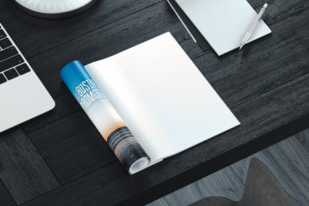 Ouvrir le magazine avec des pages blanches sur une table grise. Espace libre. rendu 3D. Banque d'images