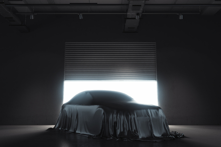 Presentation of the car covered with black cloth. 3d rendering