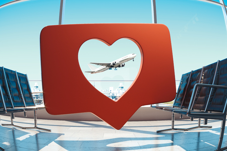 Transparent Red heart Like symbol with air plane on background. 3d rendering.