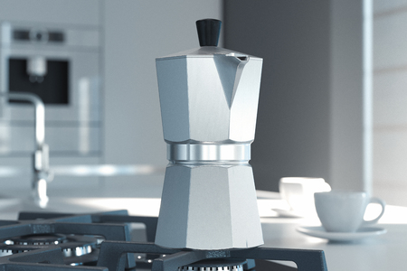Geyser coffee maker on the kitchen. 3d rendering