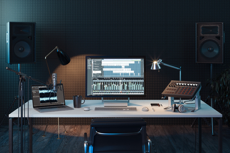 Studio Computer Music Station. Professional audio mixing console. 3d rendering. Stock Photo - 117814429