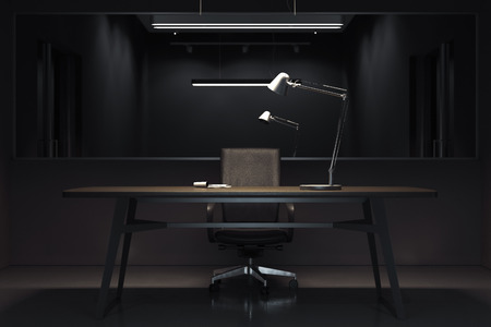 Dark interrogation room with switched-off lamp and big mirror, 3d rendering. Stock Photo