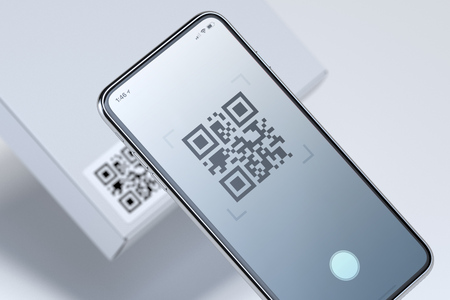 Modern stylish mobile phone scanning QR code on white box. 3d rendering. Archivio Fotografico