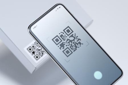 Modernes, stilvolles Handy, das QR-Code auf weißer Box scannt. 3D-Rendering.