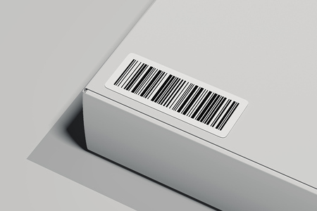 Bar code on white box isolated on light background. 3d rendering.