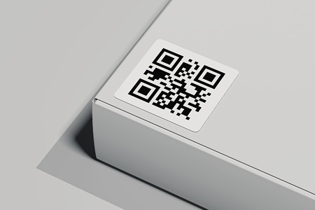 QR code on white box isolated on light background. 3d rendering. Stockfoto
