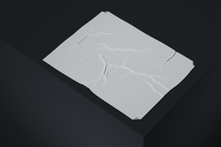 White realistic cloth or paper on black background, 3d rendering