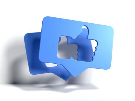 Duim omhoog blauwe symbolen of pictogrammen. 3D-rendering. Sociaal mediaconcept.
