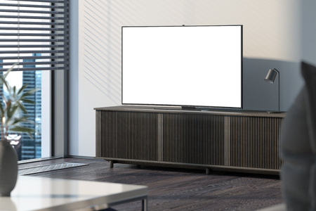 Blank white TV set on brown cupboard next to light walls, 3d rendering.
