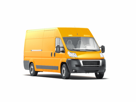 Yellow realistic blank truck on white background. 3d rendering.