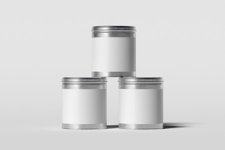 Three cans with blank white labels isolated on white background, 3d rendering.