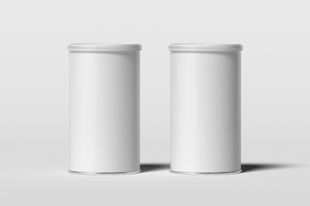 Cans with blank white labels isolated on white background, 3d rendering.