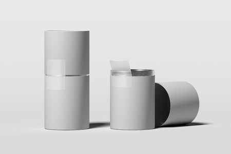 White cardboard Tube Tin can Mockup, cylindrical Packaging, 3d rendering