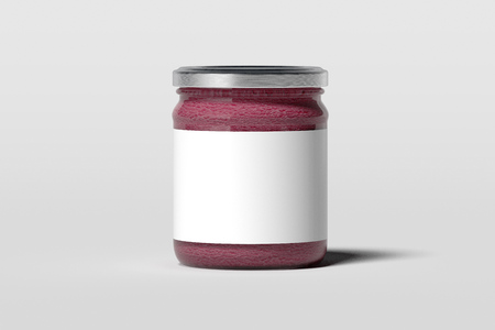 Realistic jam jar with blank white emblem isolated on white background with souffle, 3d rendering. Stock Photo