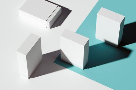 Scatole di cartone realistiche bianche isolate su fondo azzurro. rendering 3D.