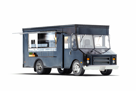 Black realistic food truck isolated on white. 3d rendering.