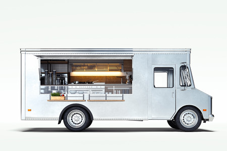 White realistic food truck isolated on white. 3d rendering.