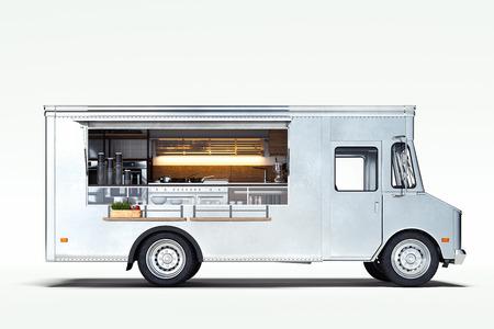 Camion de nourriture réaliste blanc isolé sur blanc. rendu 3D.