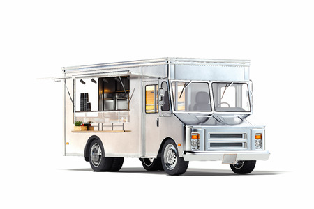White realistic food truck isolated on white. 3d rendering. Stock Photo - 119693638