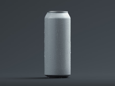 Aluminum beer or soda can with droplets isolated on grey, 3d rendering. Standard-Bild