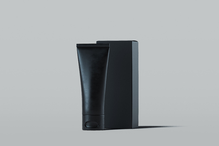 Cosmetic tube for cream, gel, lotion with black cardboard box. 3d rendering.