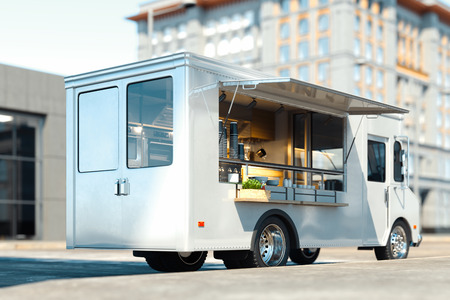 White food truck with detailed interior on street. Takeaway. 3d rendering. Stockfoto
