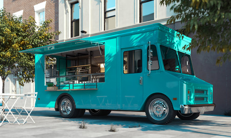 Aquamarine food truck with detailed interior on street. Takeaway. 3d rendering. Stock Photo