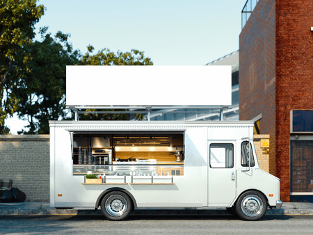 White food truck with detailed interior. Takeaway food and drinks. 3d rendering. Stock Photo
