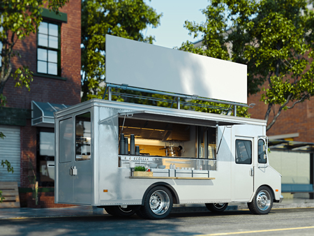 White food truck with detailed interior. Takeaway food and drinks. 3d rendering. 스톡 콘텐츠
