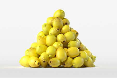 Pile of fresh lemons on light background. 3d rendering.