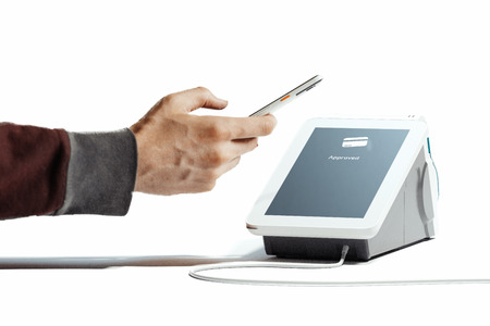 Hand holding mobile phone and POS payment terminal NFC payments. 3d rendering.