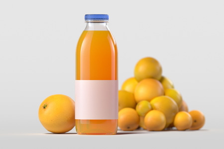 Close up of fresh orange juice in bottle on light background. 3d rendering.