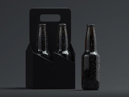 Dark beer glass bottles with droplets on black backround, 3d rendering. Imagens