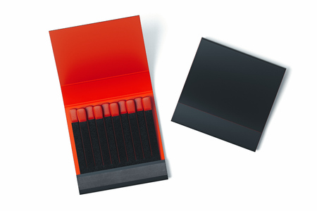 Black blank Matchbox with matches on white background. 3d rendering.