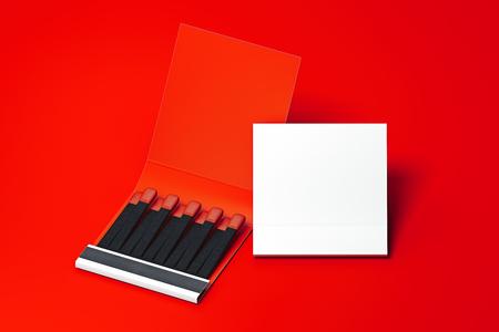 White blank Matchbox with matches on red background. 3d rendering. Copy space. Stockfoto