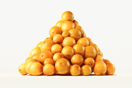 Pile of fresh oranges on light background. 3d rendering.